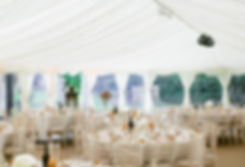 Wedding marquee with linings and pea lights