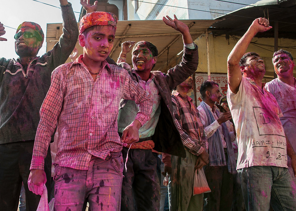 Holi Festival in Gokul India in March of 2017, about 5 miles from Mathura and the Holi Gate.