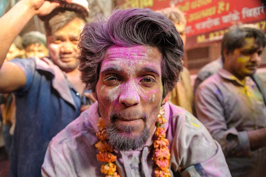 Holi Festival - Banke Bahari Temple, Mathura India