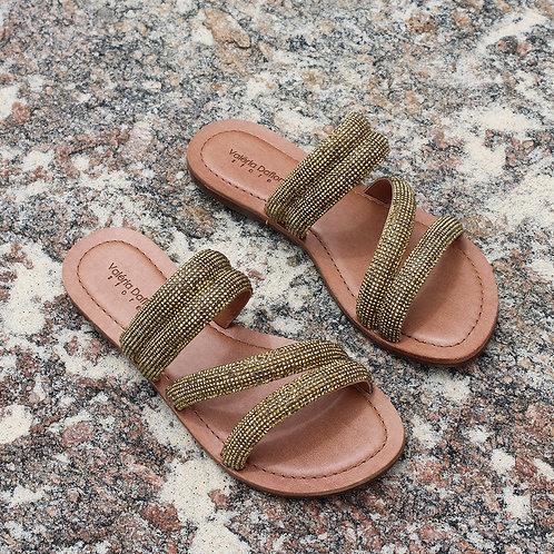 Sandália Rasteira Fashion Dourada