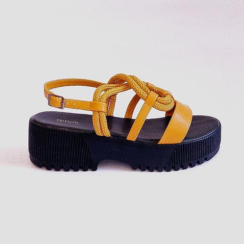 Sandália Tratorada Cordas Amarela
