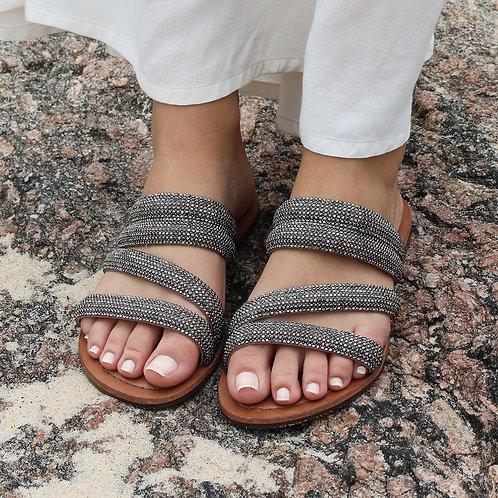 Sandália Rasteira Fashion Prata
