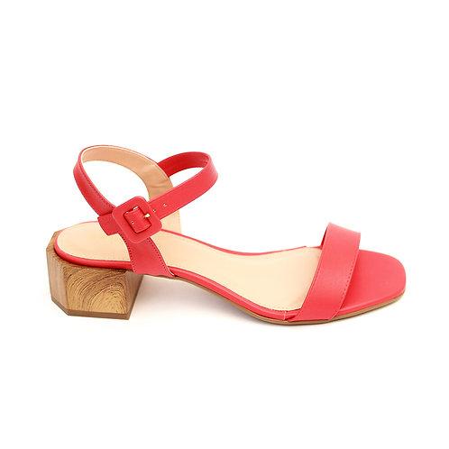 Sandália Vermelha Salto Madeira