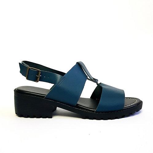 Sandália Tratorada Couro Azul