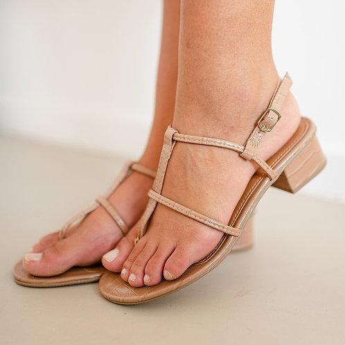 Sandália Croco Salto Baixo