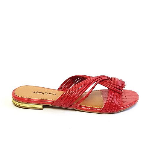 Sandália Flat Tiras Vermelha