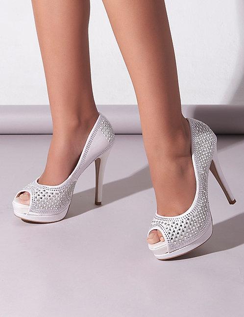 Sandália Salto Alto Branco Brilhos