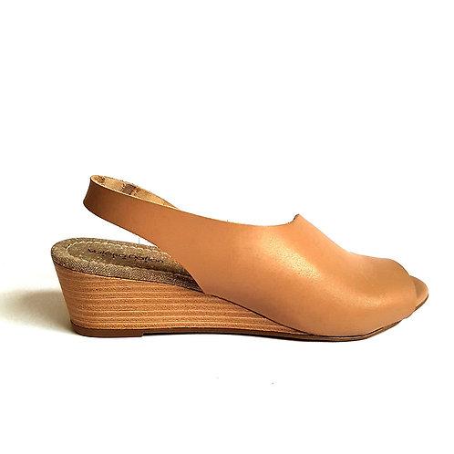 Sandália Fashion Couro Bege