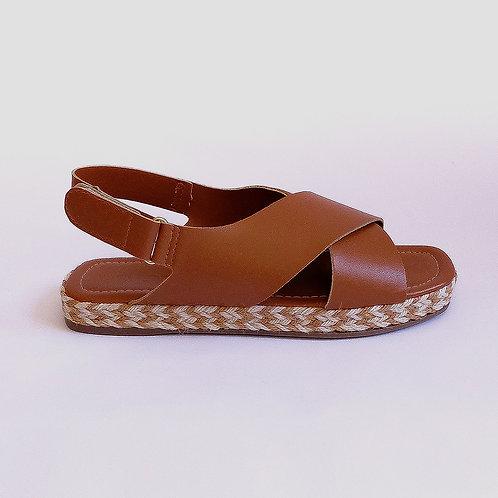 Sandália Papete Velcro Camel