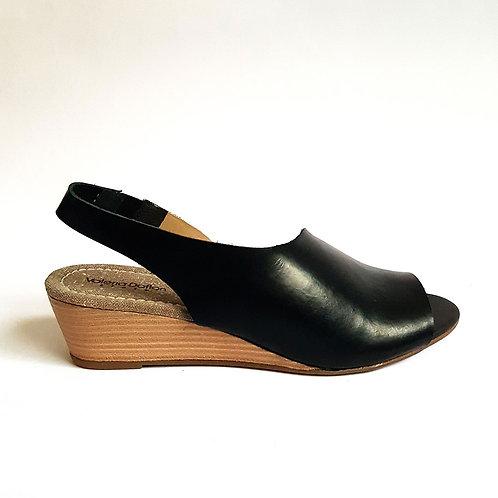 Sandália Fashion Couro Preta