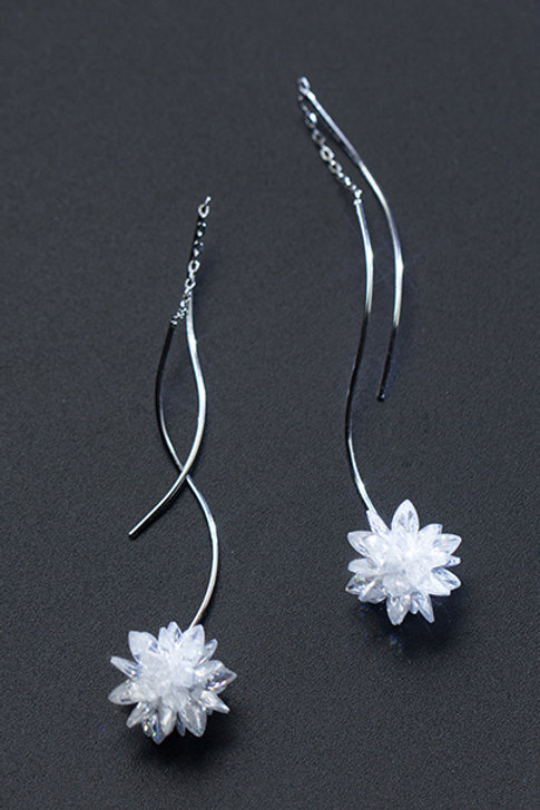Curved Ice Crystal Earrings