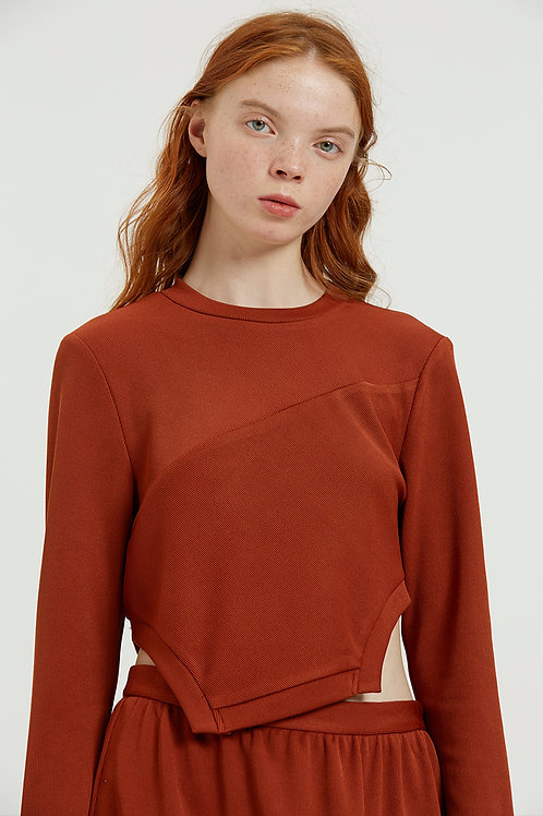Fussed | Auburn Top with Detachable Fur