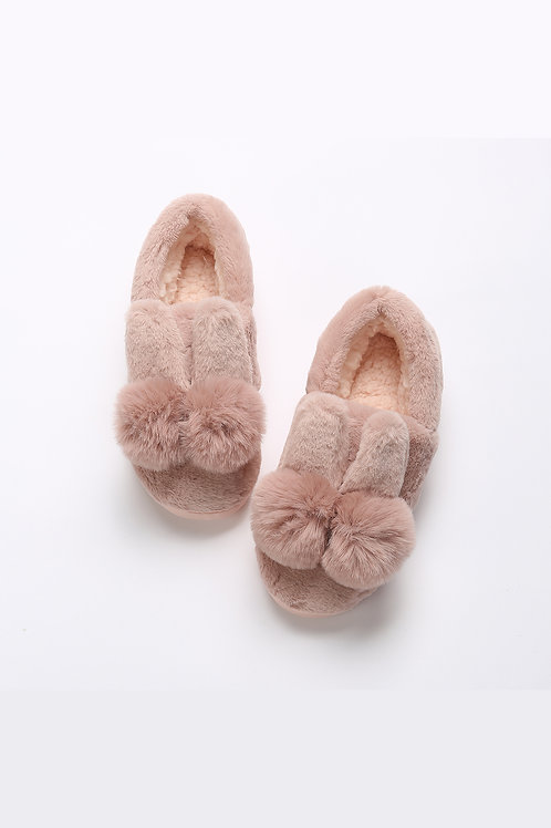 Lykke Home | Pink Rabbit Foot Bootie Slippers