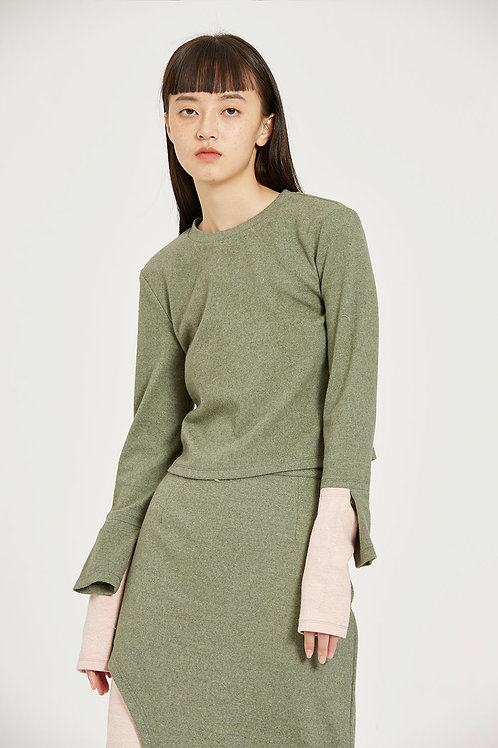Fussed | Sage Green Asymmetric Top