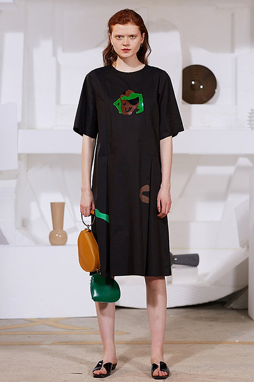 Rimless   Black Abstract Patterned Dress