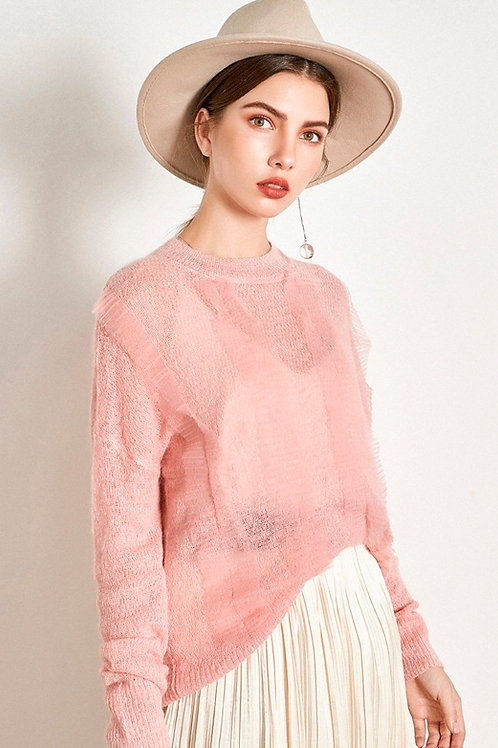 Ecru Emissary | Pink Flipped Sweater