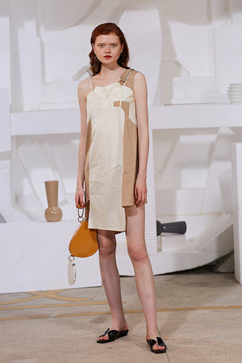 Rimless | Cream-white Contrast Brown Patchwork Dress