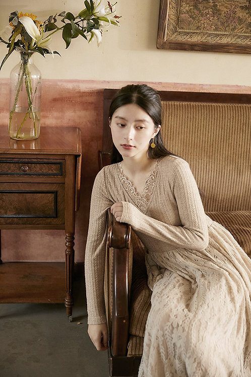 MOLIFUSU |  Lace Splicing Knit Dress