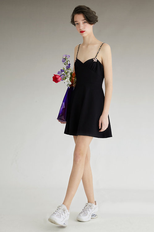 Fussed | Black Vintage-style Chic Cami Dress