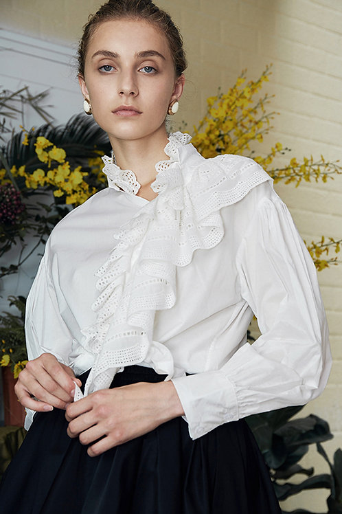 Rimless | White Ruffled Top with Bishop Sleeves