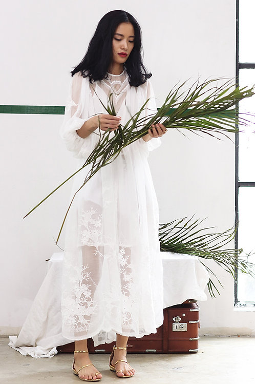 Since Then | White Embroidered Sheer-Chiffon Dress
