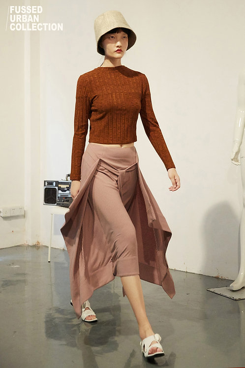 Fussed | Lotus Pink Draped Long Belt Tied Skirt