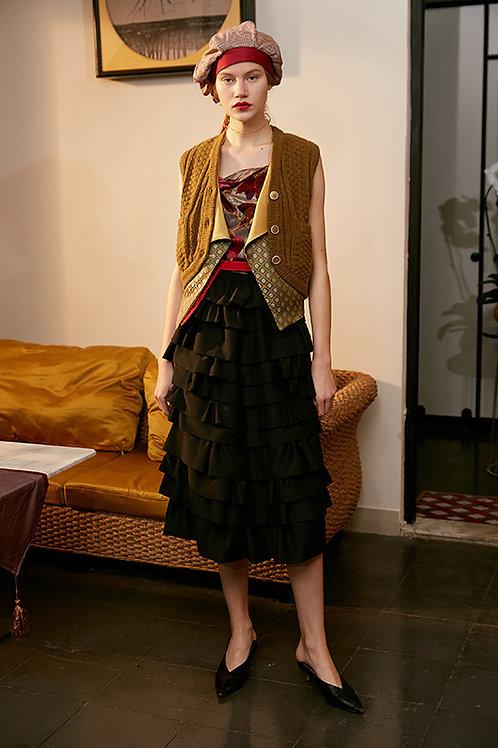Rimless | Black Layered Tiered Ruffle Skirt