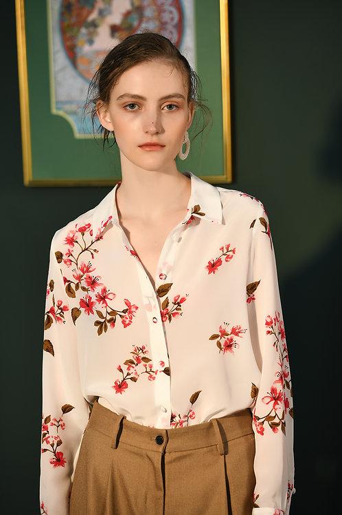 Ecru Emissary | Floral Silk Blouse