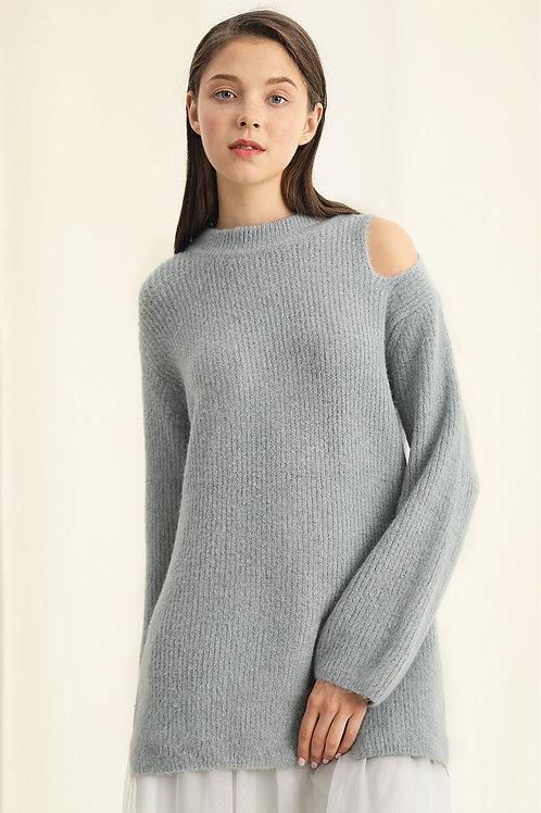 Ecru Emissary   Grey Off-Shoulder with Slit Sweater