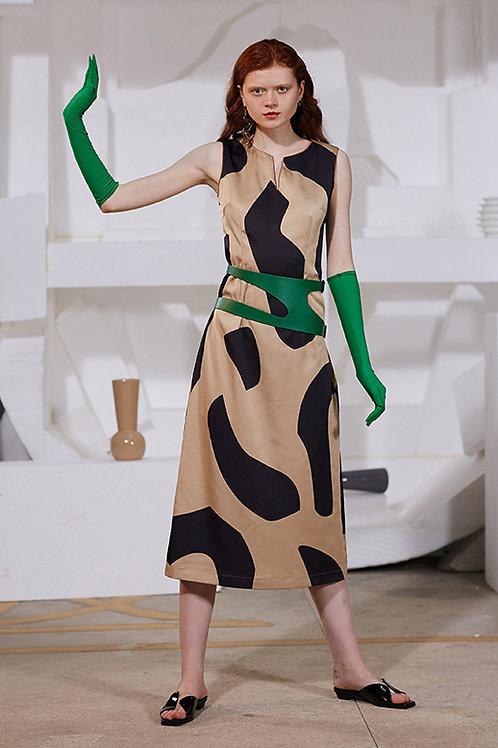 Rimless | Khaki Black Asymmetric Dress