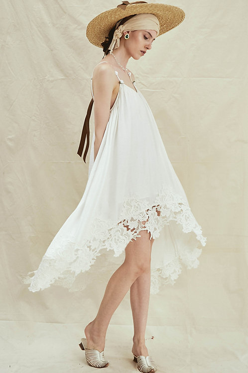 Rimless | White Embroidered Wide-hem Dress
