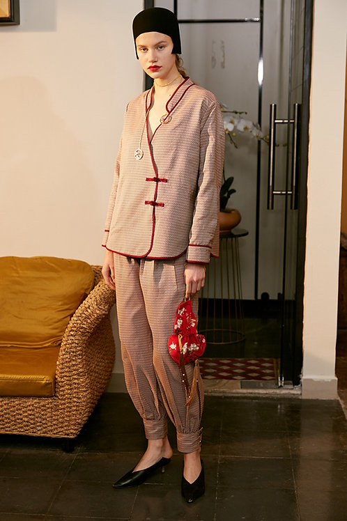 Rimless | Red & White Geometric Collar Jacket