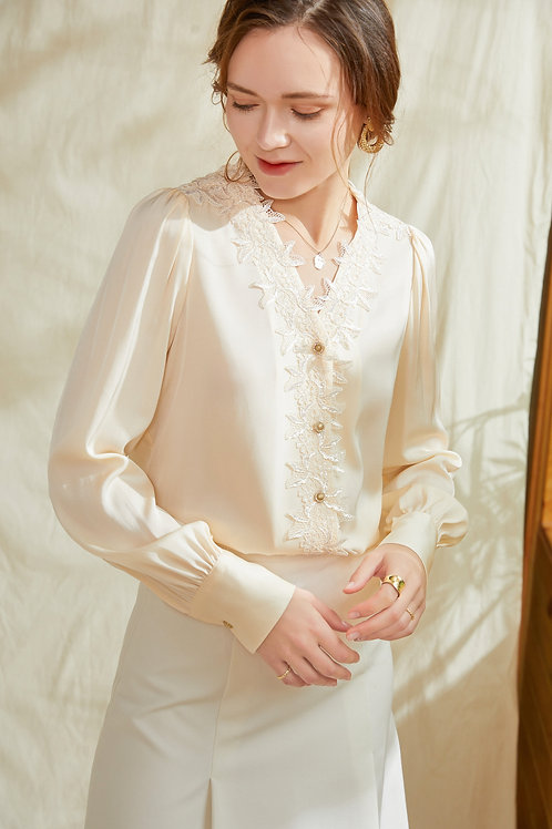 Ecru Emissary | Hibiscus Silk Shirt