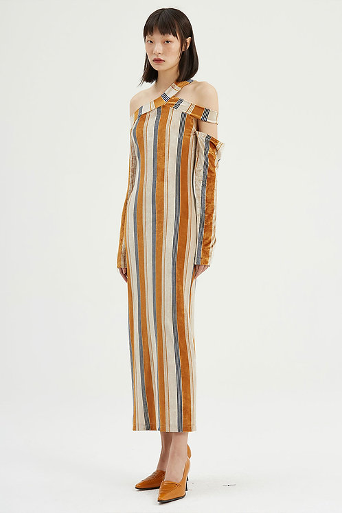 Fussed | Striped Velour Tight-fitting Dress