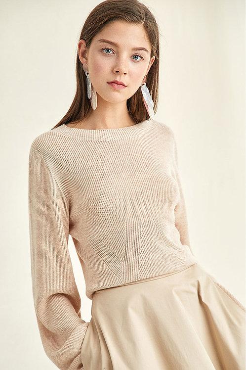 Ecru Emissary | Vanilla Puff Sleeves Sweater