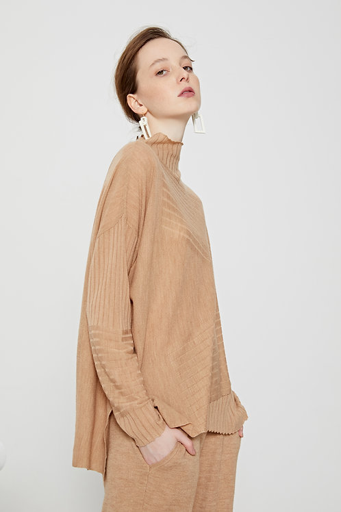Ecru Emissary | Brown Aliyah Wool Blend Knit