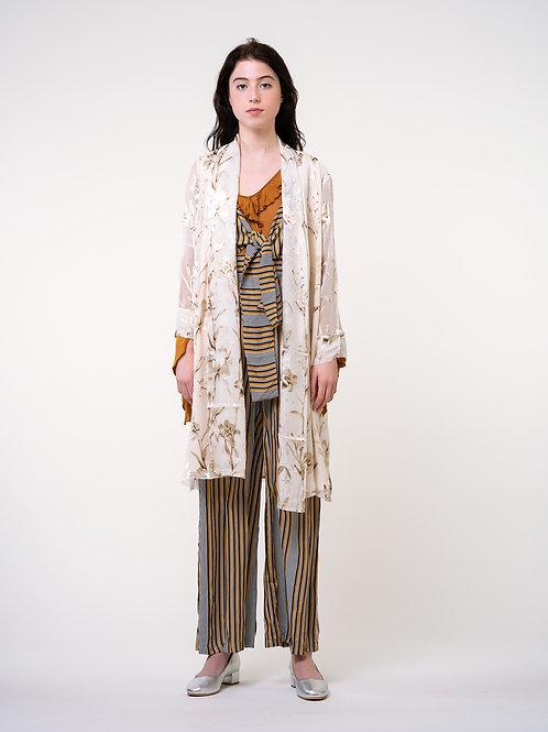 Rimless | Champagne Silky Embroidered Kimono