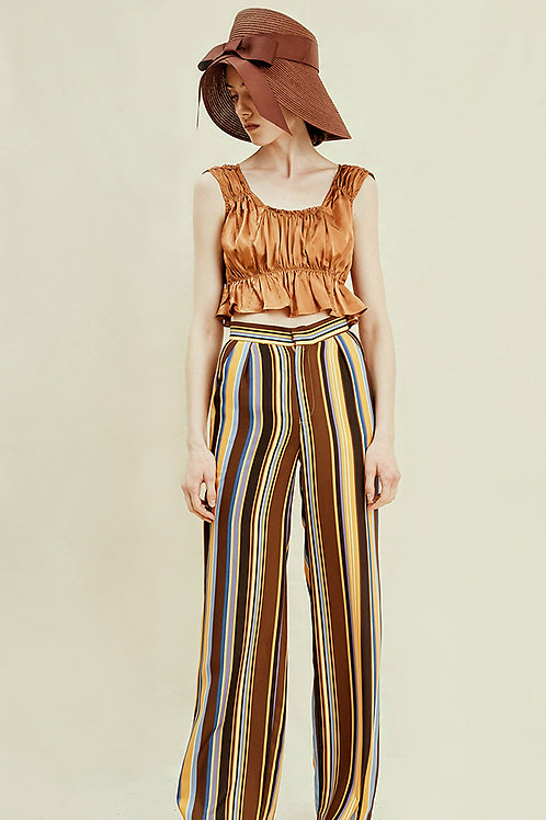 Rimless | Copper Irregular Striped Pant