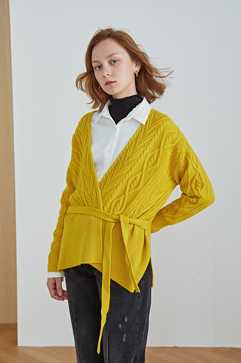 Ecru Emissary | Yellow Oversized Tie Cardigan