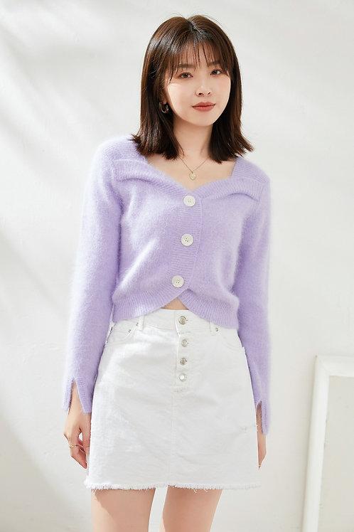 Ecru Emissary | Fuzzy Purple Cropped Cardigan