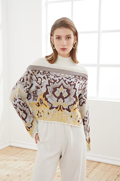 Ecru Emissary   Jacquared Splicing Sweater