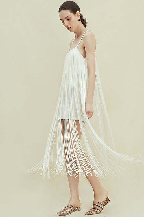 Rimless | White Tasseled Slip Dress