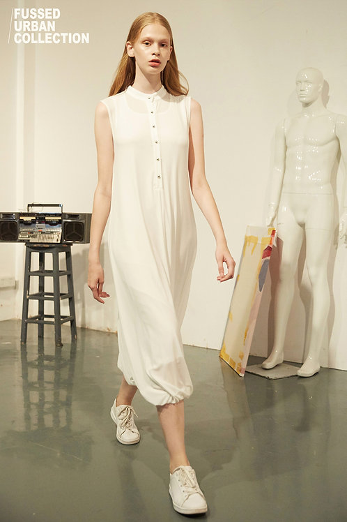 Fussed | White High Neck Semi-Button Down Dress