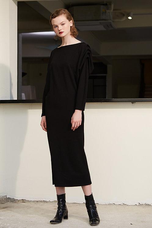 Rimless | Eerie Black Pleated Shoulder Dress