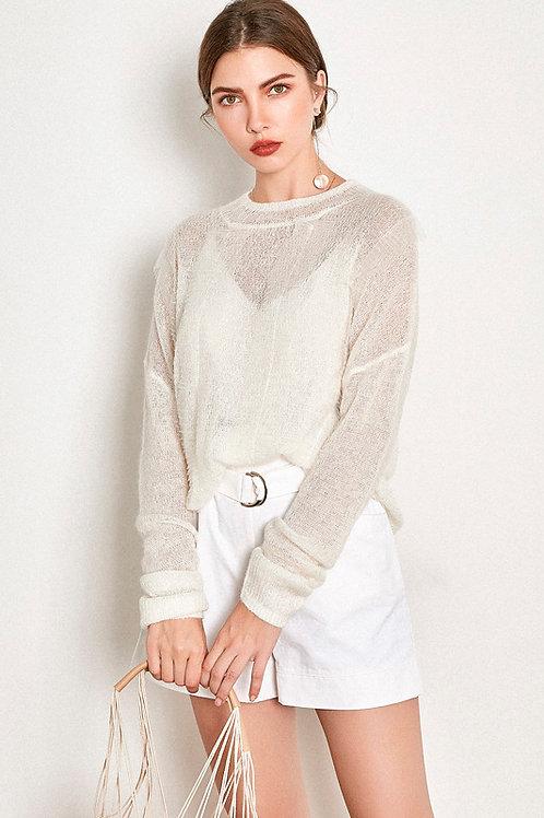 Ecru Emissary | White Flipped Sweater