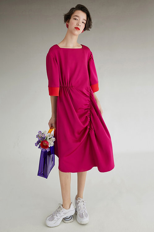 Fussed | Magenta Contrasting Pleated Dress