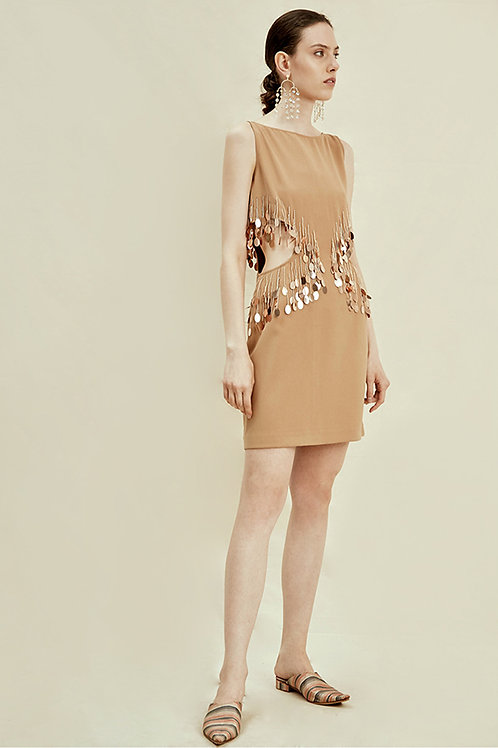Rimless | Camel Cut-out Dress with Sequin Detail