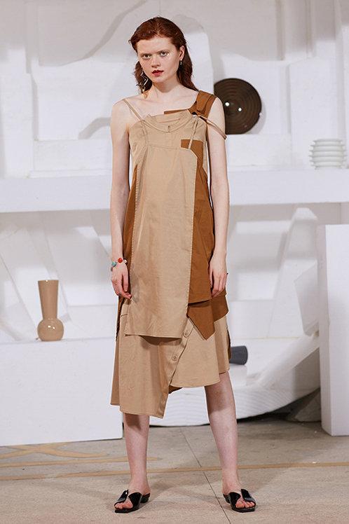 Rimless | Khaki Contrast Brown Patchwork Dress