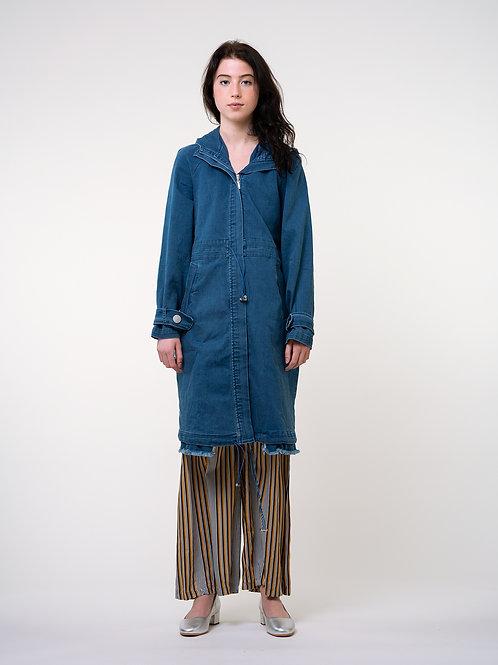 Fussed | Long Demin waist-adjustable Coat