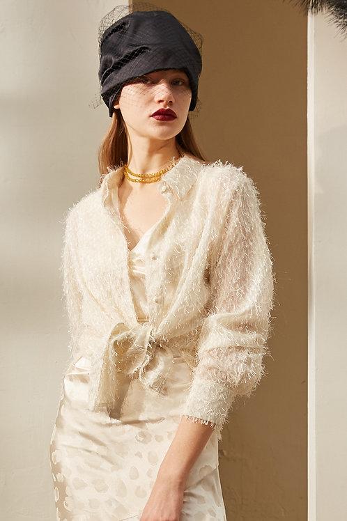 Rimless | Ivory White Tassel Shirt